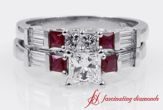 Baguette With Princess Cut Diamond Wedding Set in White Gold