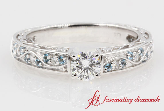 Vintage Style Round Diamond With Filigree Engagement Ring in White Gold