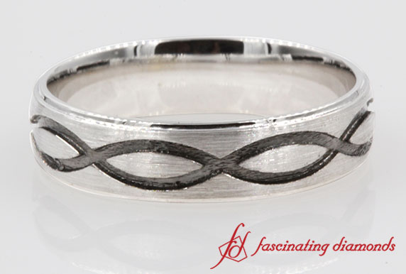 White Gold brushed finish With Engraved Infinity Design band For Men