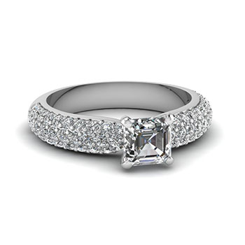 1 Carat Asscher Cut Diamond Engagement Ring For Her