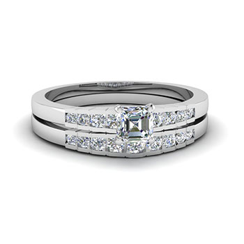 1/2 Ct Asscher Cut Diamond Wedding Ring Set