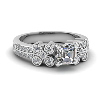 0.50 Carat Asscher Cut Diamond Engagement Ring For Her