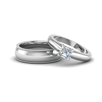 1/2 Carat Simple Milgrain Asscher Cut Diamond Wedding Ring Set For Him And  Her