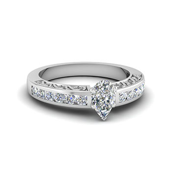 0.75 CTW Pear Shaped Diamond Engagement Ring