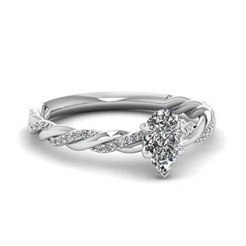 0.50 Carat Pear Shaped Women Diamond Ring