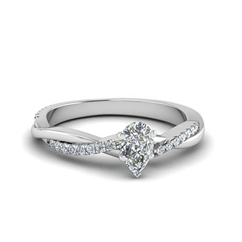 Half Carat Pear Shaped Diamond Engagement Ring