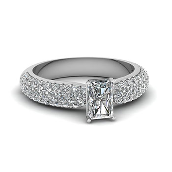 1 Ct Radiant Cut Diamond Engagement Ring White Gold