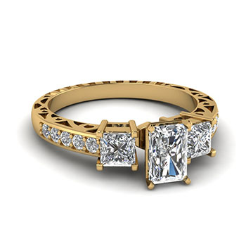 One Carat Radiant Cut Diamond Ring