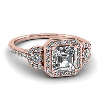 3/4 Karat Asscher Cut Diamond Engagement Rings
