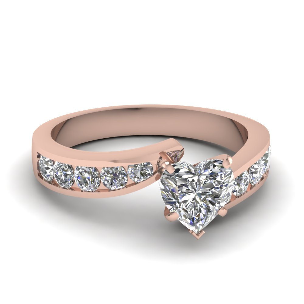 Swirl Pave 1 Carat Heart Shaped Diamond Engagement Ring In Rose Gold