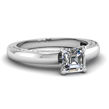 0.50 Ct. Asscher Cut Diamond Engagement Ring