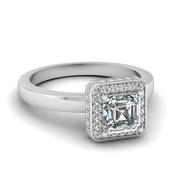0.75 Carat Asscher Cut Diamond Engagement Ring