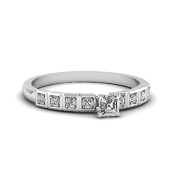 Asscher Cut 1/2 Carat Diamond Engagement Ring