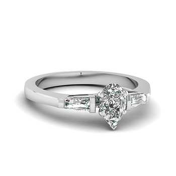0.50 Ct. Pear Shaped Diamond Engagement Ring For Women
