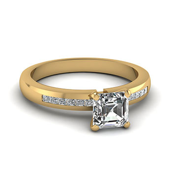 Half Carat Asscher Cut Engagement Rings