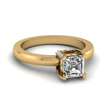 0.50 Ct. Asscher Cut Diamond Women Engagement Ring