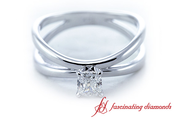 Split Princess Cut Solitaire Ring