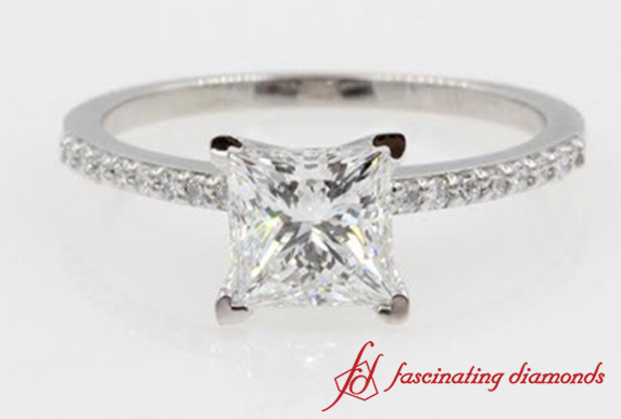 Princess Cut Diamond Petite Engagement Ring In 14K White Gold