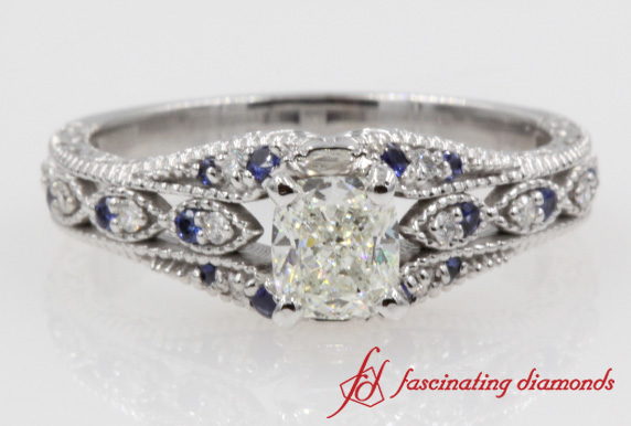 Cushion Cut Sapphire Antique Ring