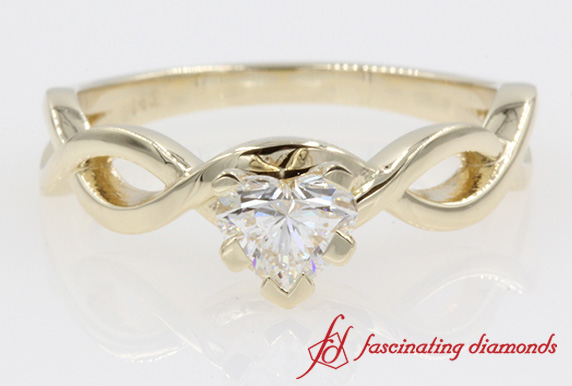Braided Solitaire Heart Diamond Ring