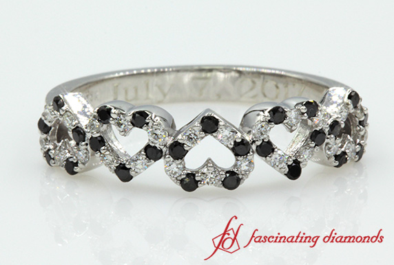 White Gold Heart Design Black And White Diamond Band For Women