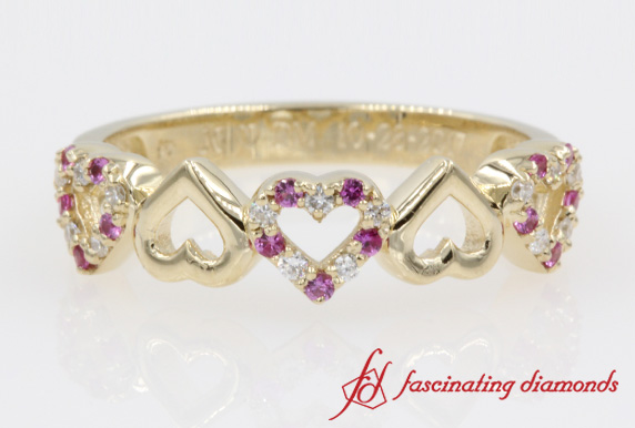 Yellow Gold Heart Design Band
