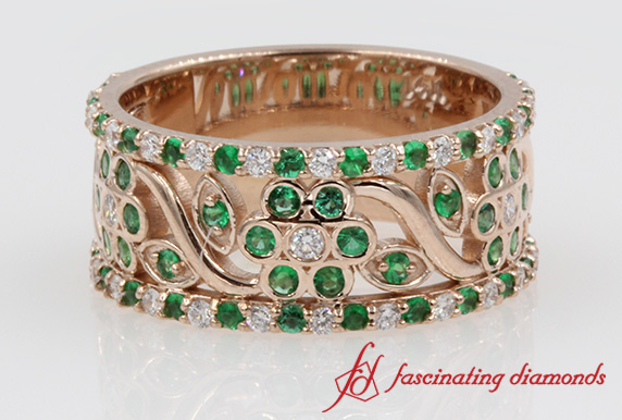 Floral Diamond And Emerald Thick Wedding Band In 14k Rose Gold