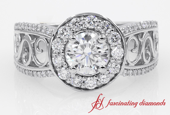 Vintage Style Halo Diamond Ring