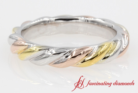 Mixed Gold Twist Style Wedding Band