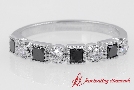Princess & Round Diamond Milgrain Band