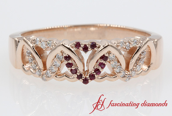 Interlinked Heart Design Wide Diamond With Ruby Wedding Band In 14k
