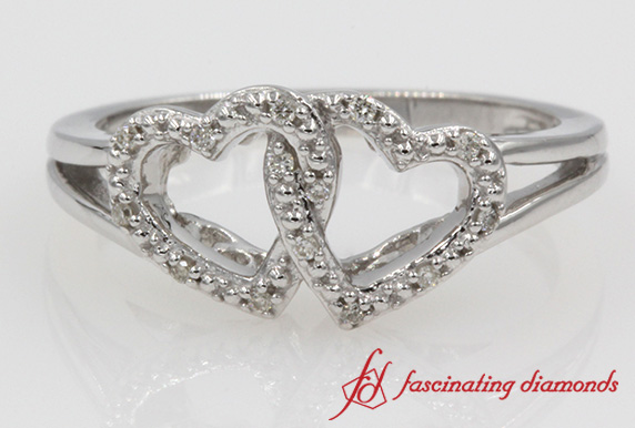 Two Heart Style Promise Ring Split Shank