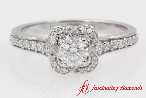 Floral Halo Round Diamond Engagement Ring