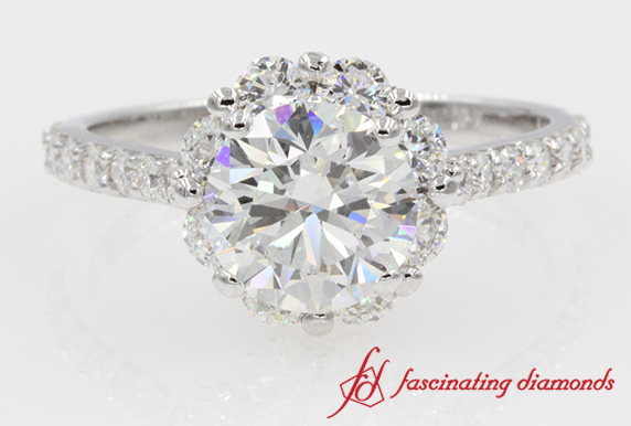 Round Diamond Flower Ring