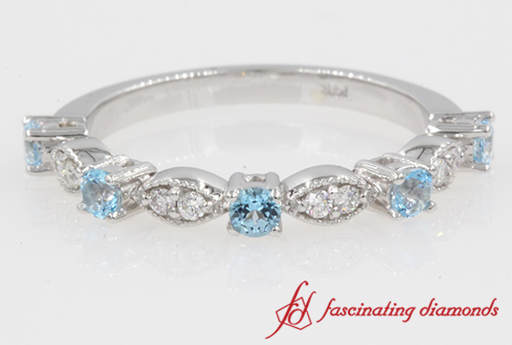 Milgrain Diamond & Blue Topaz Band