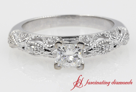 Antique Filigree Milgrain Diamond Ring