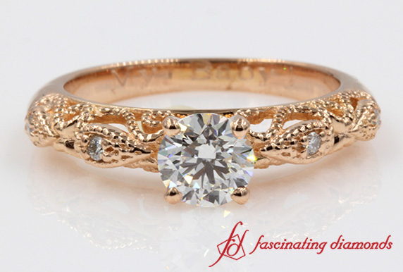 Round Cut Diamond Filigree Ring