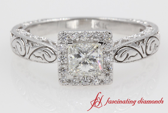 Vintage Engraved Halo Diamond Ring