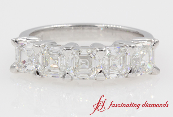 Asscher Cut 5 Stone Diamond Ring