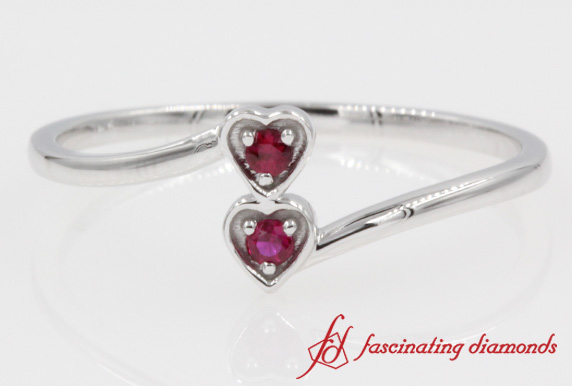 2 Ruby Stone Heart Promise Ring White Gold