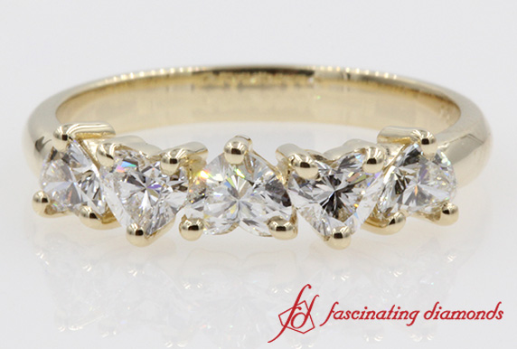 5 Stone Heart Shaped Diamond Band