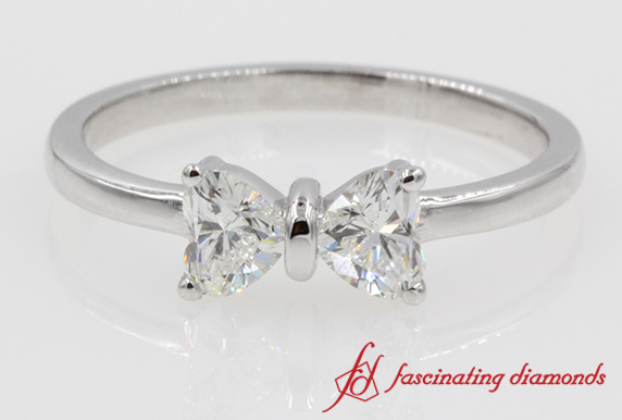 Bow Style 2 Heart Shaped Diamond Ring