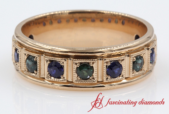 Custom Block Design Flush Round Emerald With Sapphire Band in Rose Gold