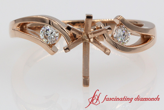Tension Set Accent Engagement Ring Without Center Stone In 14K Rose Gold
