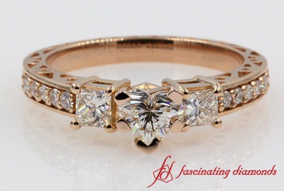 Vintage Style Heart Diamond Ring