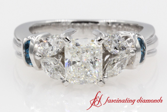 Petal Style Radiant Diamond Engagement Ring With Topaz In 14K White Gold