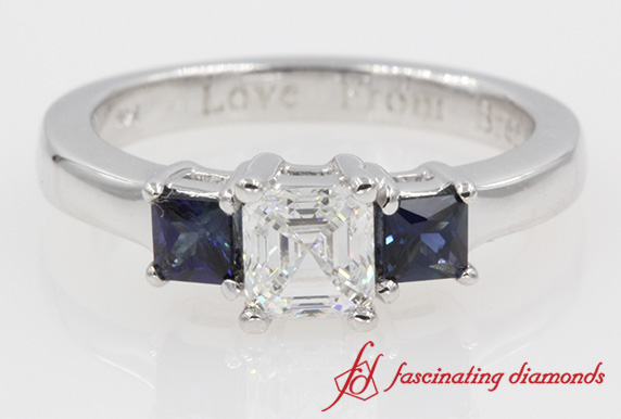 Asscher Diamond Three Stone Ring