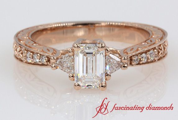 Trillion Emerald Cut Vintage Look Ring