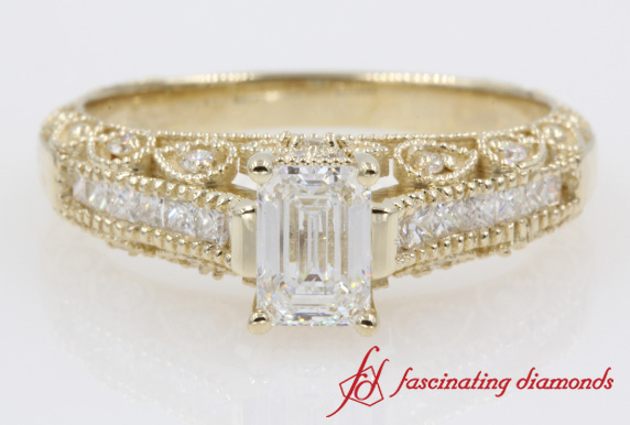 Emerald Cut Vintage Diamond Engagement Rings In 14K Yellow Gold