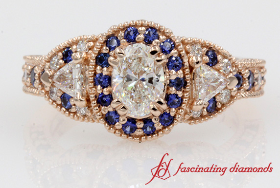 Oval Diamond & Halo Sapphire Antique Ring